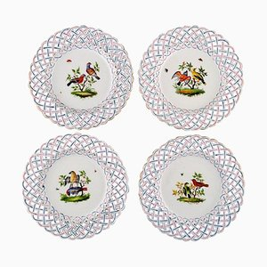 Antique Pierced Meissen Plates with Hand-Painted Bird Motifs, Set of 4