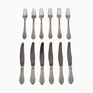Georg Jensen Continental Cutlery Dinner Service, 1940s, Set of 12