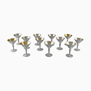 Modernist Cocktail Glasses in Silver 830 from K&EC, Sweden, 1968, Set of 12