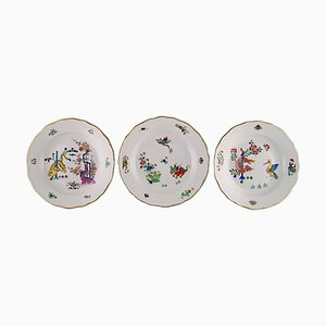Kakiemon Meissen Plates Decorated with Japanese Motifs, 1900s, Set of 3