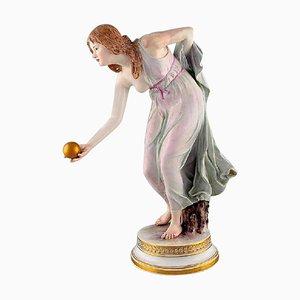 Walter Schott for Meissen Large Art Nouveau Porcelain Figurine Woman with Ball