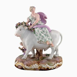 Large Antique Meissen Porcelain Figurine Europe and the Bull