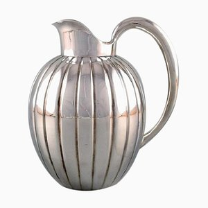 Georg Jensen Art Deco Sterling Silver Jug in Fluted Style Model Number 856, 1940s