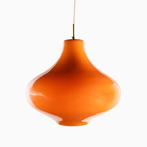 Orange Murano Glass Cipolla Ceiling Lamp by Massimo Vignelli for Venini, 1960s