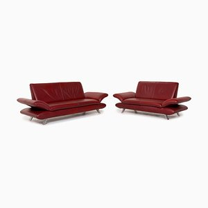 Rossini Red Leather Sofas from Koinor, Set of 2