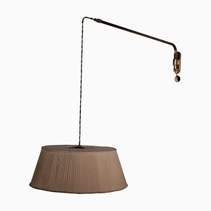 Lampe aus Messing & Stoff, Italien, 1950er