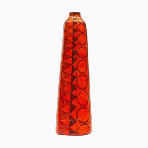 Große orangefarbene Bodenvase von Ceramica Artistica Torviscosa, 1960er