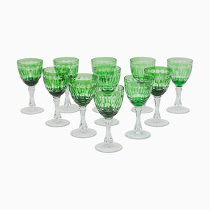 Art of Green Clear Faceted Crystal Wine Glasses from Val Saint Lambert, Belgium, 1920s, Set of 11