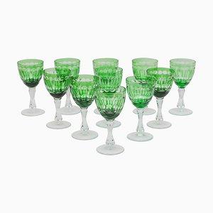 Verres à Vin Verts à Facettes en Cristal de Val Saint Lambert, Belgique, 1920s, Set de 11
