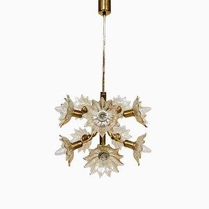 Vintage Brass Floral Pendant Lamp, 1980s