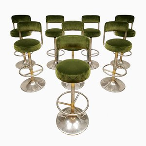 Vintage Swedish Green Velvet Bar Stool by Borje Johanson for Johansen design, 1960s