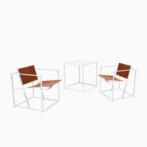 FM62 Stühle & Beistelltisch aus Stahl & Leder von Radboud Van Beekum für Pastoe, 1980er, 3er Set