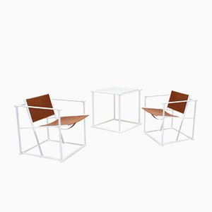 Steel & Leather FM62 Chairs & Side Table by Radboud Van Beekum for Pastoe, 1980s, Set of 3
