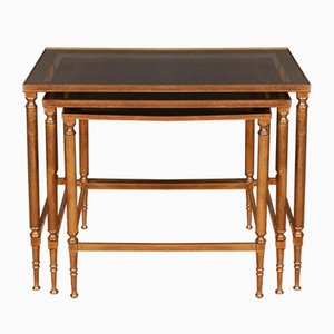 French Brass and Glass Nesting Tables, 1950s