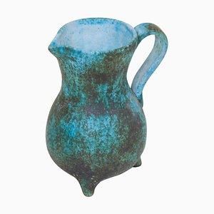 Grüne Keramikvase von Portier, Frankreich, 1950er