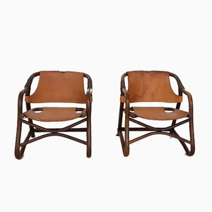 Manou and Leather Lounge Chairs, 1950s, Set of 2