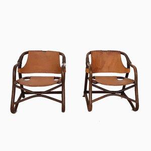 Manou und Leder Sessel, 1950er, 2er Set