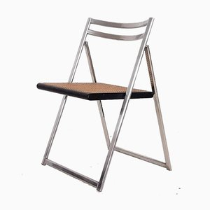 Mid-Century Moden Italian Folding Chair in Chrome and Cane, 1960s