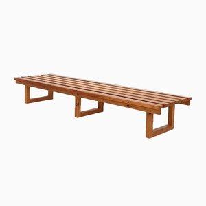 Scandinavian Modern Pinewood Slat Bench, 1960s
