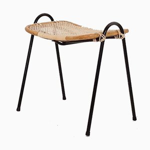 Rattan and Metal Ottoman by Dirk van Sliedregt for Rohe Noordwolde, 1950s