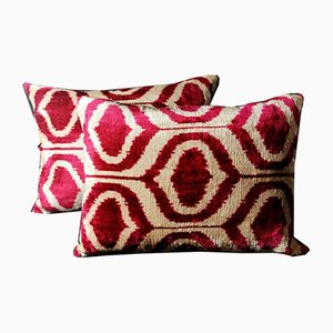 Uzbek Handmade Ikat Cushions, 1990s, Set of 2