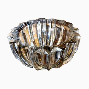 French Molded Glass Ashtray by Pierre D'Avesn, 1930s
