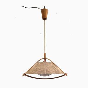 Deutsche Deckenlampe aus Teak und Plexiglas von Temde, 1960er