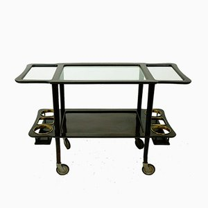 Mid-Century Italian Serving Trolley with Glass Top, 1950s