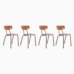 Mid-Century Danish Teak School Chairs, 1960s, Set of 4
