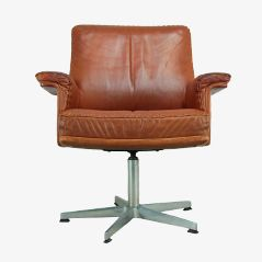 Leather Lounge Swivel Chair by De Sede, 1960s