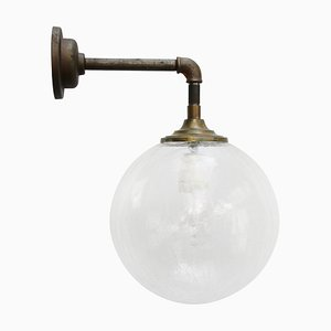Vintage Industrial Brass, Cast Iron, and Clear Glass Sconce