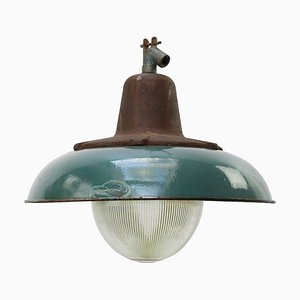 Vintage Industrial Petrol Enameled Cast Iron and Holophane Glass Pendant Lamp