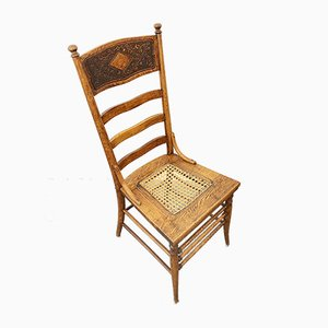 Antique Carved Wood and Wicker High Back Dining Chair, 1900s