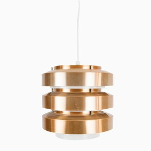 Mid-Century Pendant Lamp with Copper Reeds, 1970s