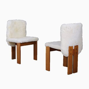 Mid-Century Fur and Wood Dining Chairs by Tobia & Afra Scarpa, 1970s, Set of 6