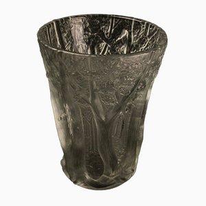 Vaso Art Déco vintage in vetro, Repubblica Ceca, anni '40