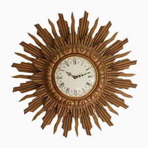 Giltwood Sunbrust Wall Clock from Stijlklokkenfabriek C.J.H. Sens en Zonen, 1960s