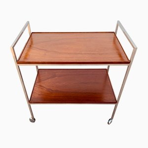 Danish Chrome and Teak Tea Trolley from Brostrom, 1960s