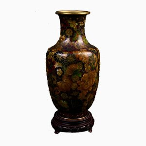 19th Century Japanese Bronze and Cloisonné Baluster Vase