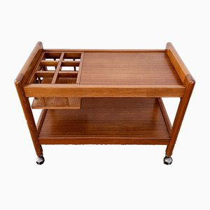Danish Teak Drinks Trolley with Bottle Rack, 1970s