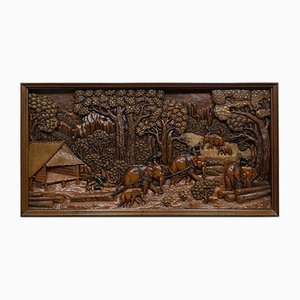 Vintage Carved Ironwood Decorative Jungle Wall Panel