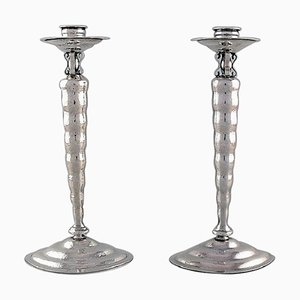 Candleholders in Hammered Sterling Silver by Reed & Barton, USA, 1930s, Set of 2