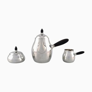 Georg Jensen Art Nouveau Coffee Pot with Sugar Bowl and Creamer in Sterling Silver, 1940s, Set of 3