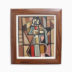 Cubist Figure 1 Oil Painting by STM, 1960s
