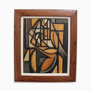 Cubist Figure 2 Oil Painting by STM, 1960s
