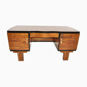 French Art Deco Walnut Desk, 1920s