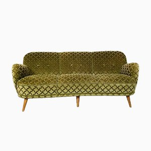Vintage Cocktail Sofa in Ton Sur Ton Green Velvet, 1950s