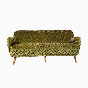Vintage Cocktail Sofa in Ton Sur Ton Green Velvet, 1950s