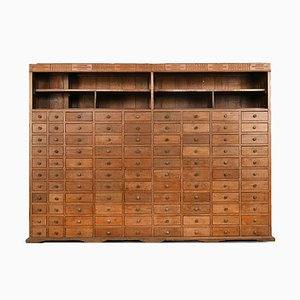 Wooden Bookcase with 99 Drawers, 1940s