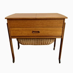 Wooden Sewing Box on Wheel in the Style of Wegner, 1960s